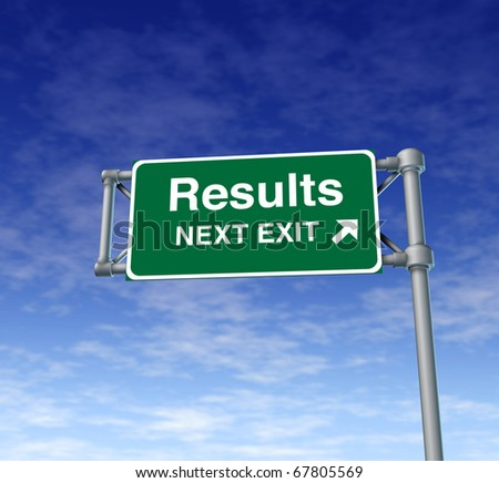Results Freeway Exit Sign highway street symbol green signage road symbol - stock photo