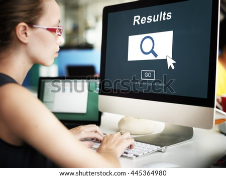 Results Information Homepage Evaluation Search Concept - stock photo