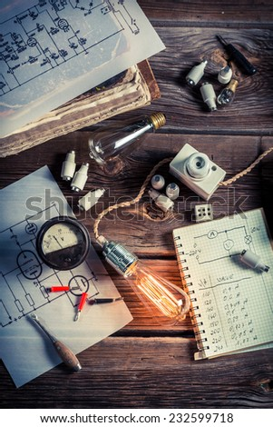 Results of current consumption in the physics laboratory - stock photo
