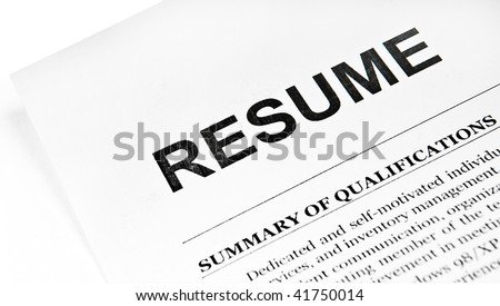 Resume application paper form on white - stock photo