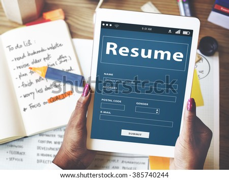 Resume CV Recruitment Employment Concept - stock photo