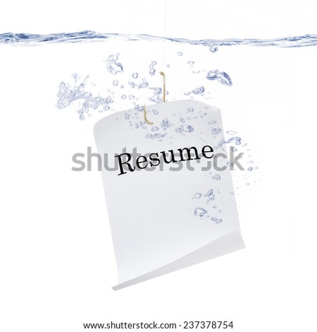 Resume Hanging from a Fish Hook - stock photo