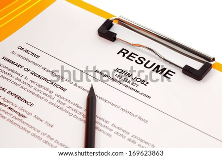 Resume in folder isolated on white background