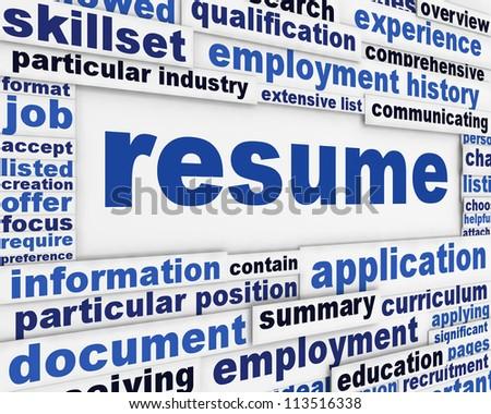Resume message design. Recruitment poster conceptual design - stock photo