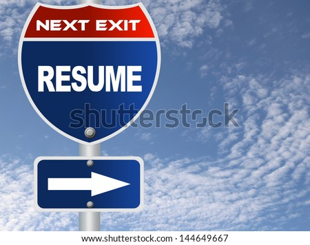 Resume road sign