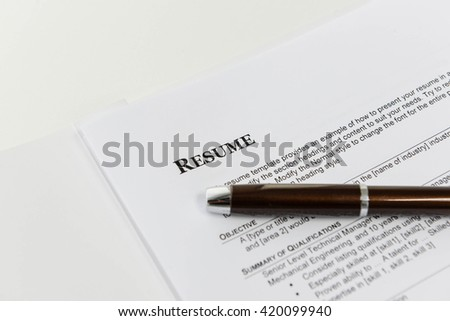 Resume Template for job interview - stock photo