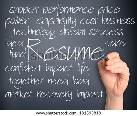 resume word cloud handwritten on pale blue background - stock photo
