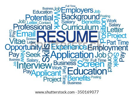 Resume Word Cloud on White Background