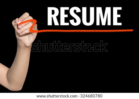 Resume word write on black background by woman hand holding highlighter pen - stock photo