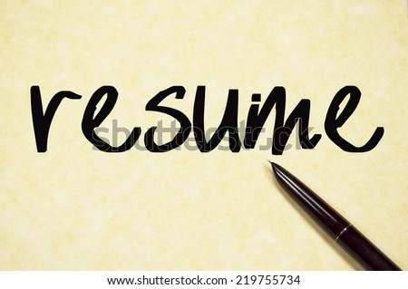 resume word write on paper  - stock photo