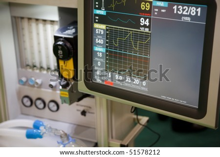 Resuscitation, system anapnotherapy. Monitor with health data based. - stock photo