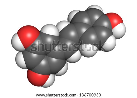 Resveratrol molecule, space-filling model. Atoms are coloured according to convention (oxygen-red, hydrogen-white, carbon-gray). - stock photo