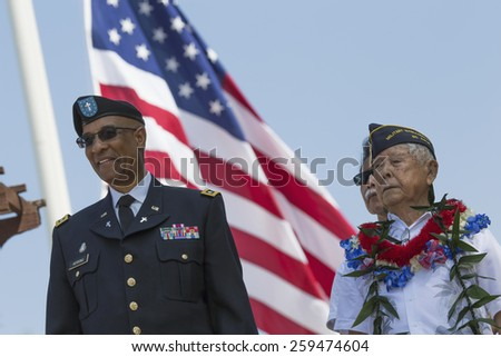 Ret. Milton S. Herring left and Ret. Lt. Yoshito Fujimoto and US Flag, Los Angeles National Cemetery Annual Memorial Event, May 26, 2014, California, USA, 05.26.2014 - stock photo