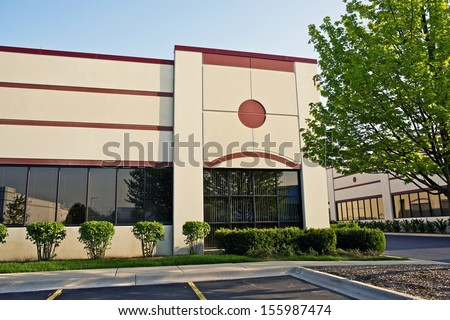 Retail Building - Commercial Building. Shipping Plaza, Industrial Area. Business Photo Collection. - stock photo