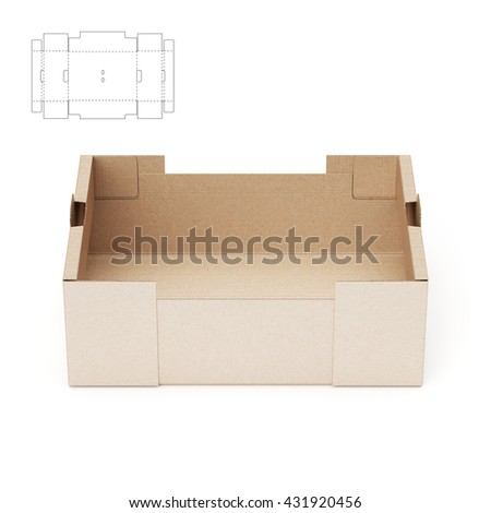 Retail cardboard tray box blueprint template stock illustration retail cardboard tray box with blueprint template 3d render malvernweather Gallery