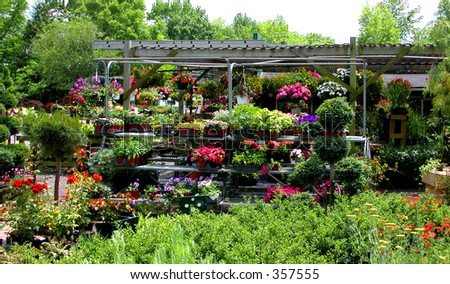 "Retail plant nursery stocked for the weekend ""do it yourself"" crowd - stock photo"