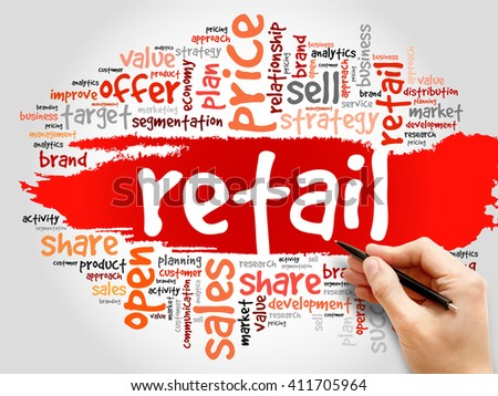 Retail word cloud, business concept - stock photo