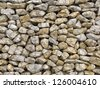 Retaining wall made of meshed boxes of stones. Macro shot for backgrounds - stock photo