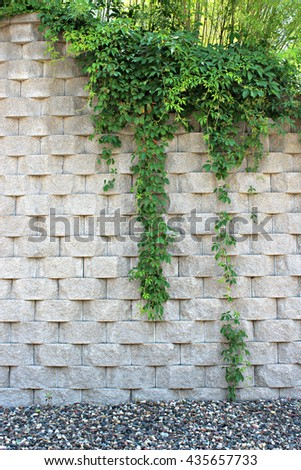 Retaining Wall with green plants