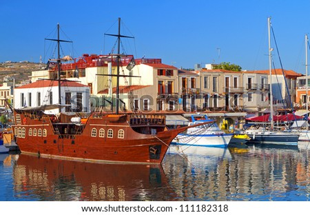 Rethymno city at Crete island in Greece. The old venetian harbor - stock photo
