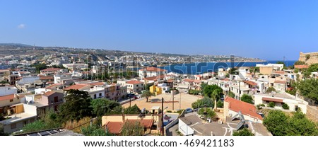 Rethymno city Crete Greece seashore panorama view