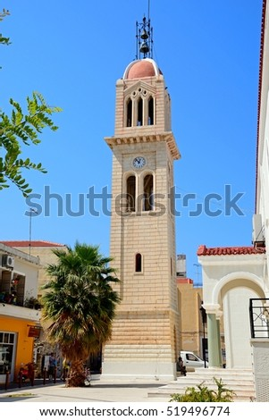 RETHYMNO, CRETE - SEPTEMBER 15, 2016 - View of the cathedral bell tower (Megalos Antonios church), Rethymno, Crete, Greece, Europe, September 15, 2016.