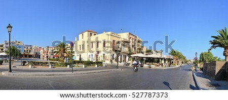 RETHYMNO, GREECE - 08.08.2016: Crete GreeceUnknown Soldier Square landmark architecture panorama