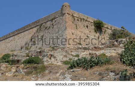 Rethymno Venetian Fort Outer Wall - stock photo