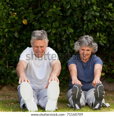 Retired couple doing their exercises