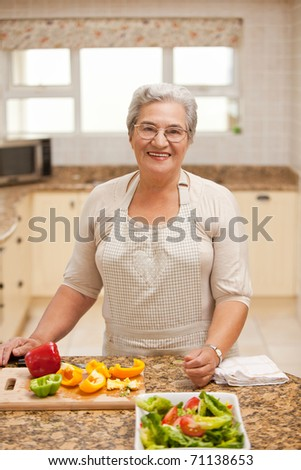 Retired woman looking at the camera in the kitchen - stock photo