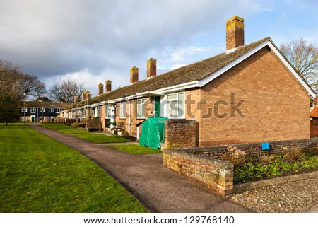 Retirement bungalows in the village of Lavenham, Suffolk, England - stock photo