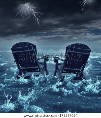 Retirement crisis concept as a couple of adirondack chairs sinking in the ocean during a thunder storm as a metaphor for financial investment problems for retiring seniors or broken dreams symbol. - stock photo