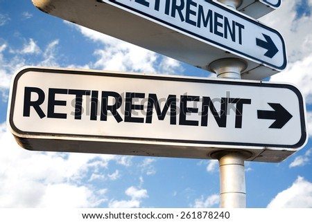 Retirement direction sign on sky background - stock photo