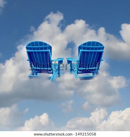 Retirement dreams and financial freedom planning symbol with two empty blue adirondack chairs floating on a cloud as a business concept of future successful investment strategy. - stock photo