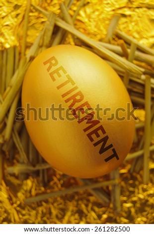 Retirement gold nest egg - stock photo