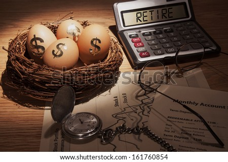 Retirement Nest Egg - low key - stock photo