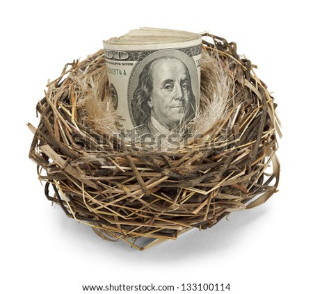 Retirement nest egg of cash in a nest isolated on a white background - stock photo