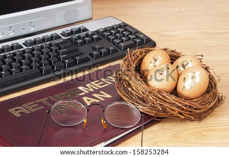retirement plan with nest egg - stock photo