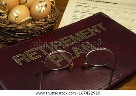 Retirement saving plan with nest egg - stock photo