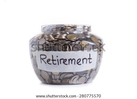 Retirement savings money in jar - stock photo