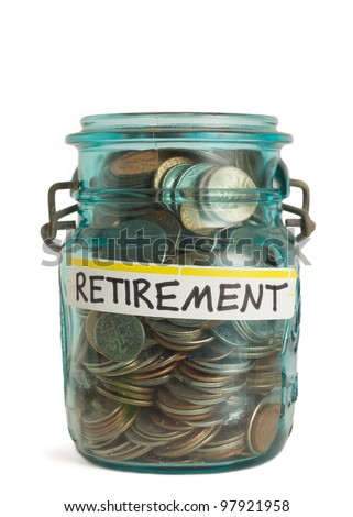 Retirement savings money in jar - stock photo