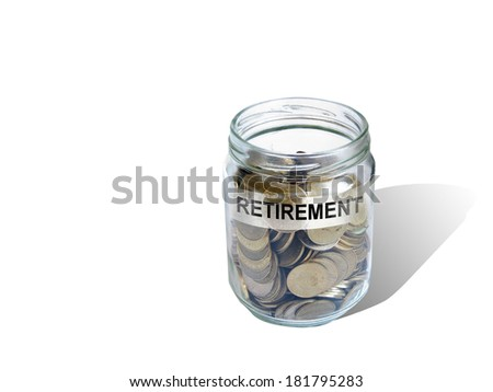 Retirement savings money in jar made in 2d software