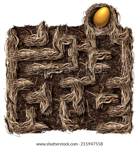 Retirement savings strategy nest egg symbol as a financial planning business concept with a bird nest shaped as a maze or labyrinth with a golden egg as the prize on a white background. - stock photo