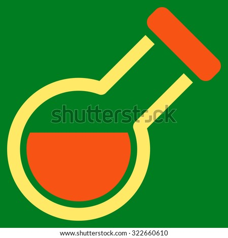 Retort glyph icon. Style is bicolor flat symbol, orange and yellow colors, rounded angles, green background. - stock photo