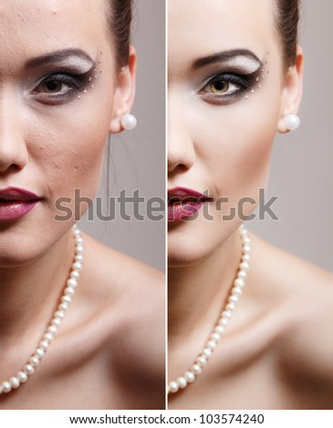 Retouch - face of beautiful young woman before and after retouch - stock photo