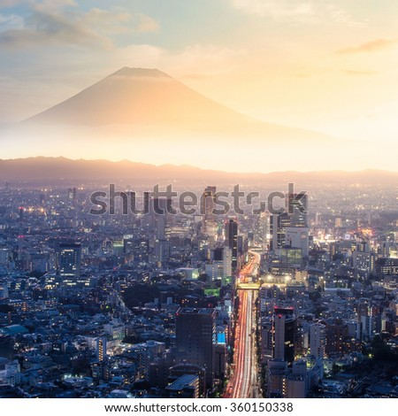 Retouch photo view of tokyo city and Mt.Fuji