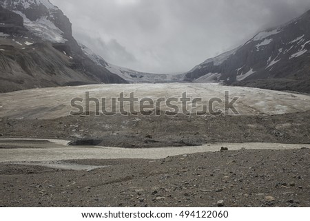 Retreating toe of the Athabasca glacier, jasper national park, canada.