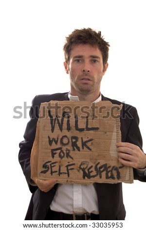 retrenched worker desperate for a scrap of dignity - stock photo