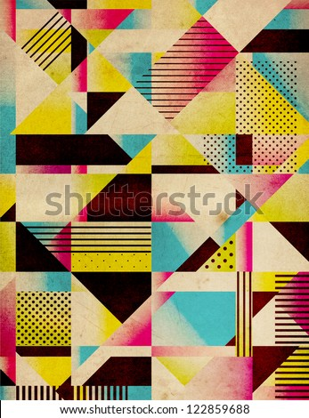 Retro Abstract Geometric Background - stock photo