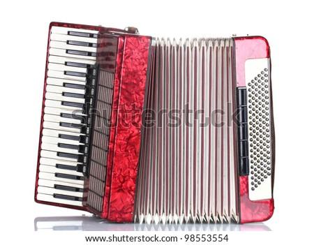 Retro accordion isolated on white - stock photo